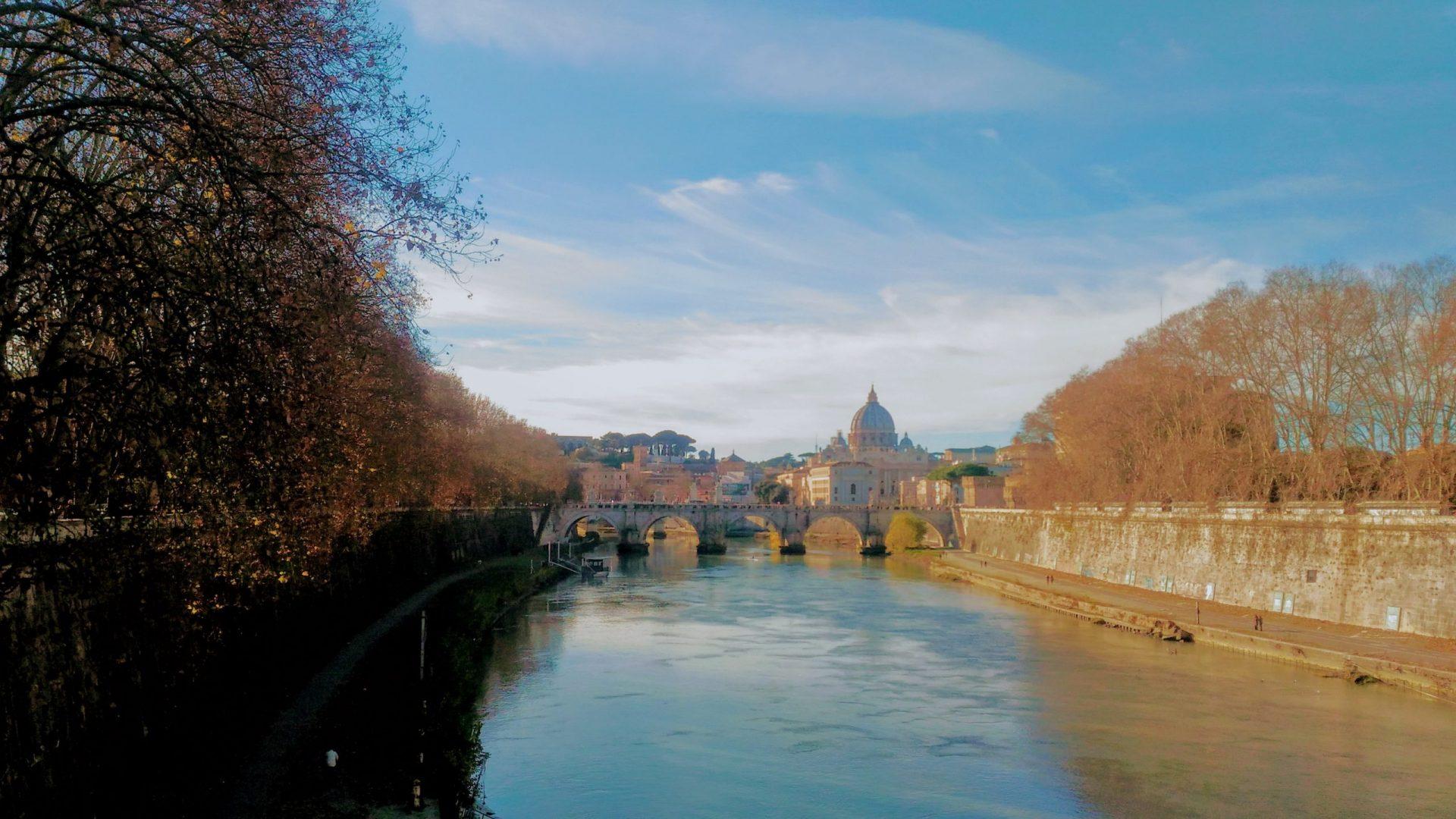 Мост Святого Ангела, Рим, Италия. 1 января, 2019